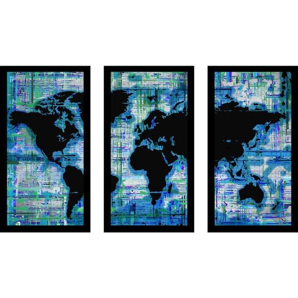 "BY Jodi ""Mad World Blue"" Framed Plexiglass Wall Art Set of 3. Opens flyout."