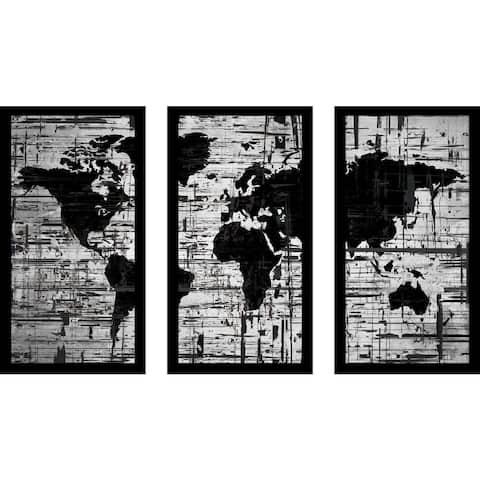 """BY Jodi """"Distressed"""" Framed Plexiglass Wall Art Set of 3"""