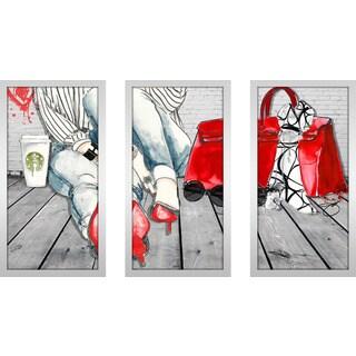 """BY Jodi """"Coffee Break"""" Framed Plexiglass Wall Art Set of 3"""