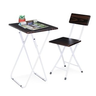 Furinno Espresso MDF/Metal Space-saving Study Desk and Chair Set