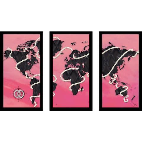"BY Jodi ""Coco'S World In Pink"" Framed Plexiglass Wall Art Set of 3"