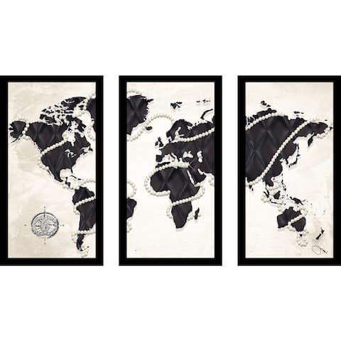 "BY Jodi ""Coco'S World In Cream"" Framed Plexiglass Wall Art Set of 3"