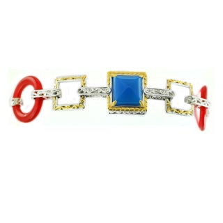 One-of-a-kind Michael Valitutti Blue Chalcedony, Red Quartz and White Sapphire Bracelet