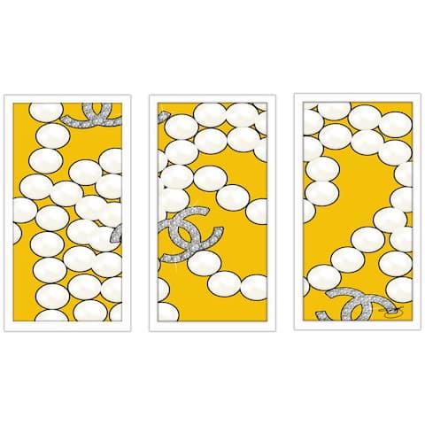 "BY Jodi ""Coco'S Pearls In Yellow"" Framed Plexiglass Wall Art Set of 3"