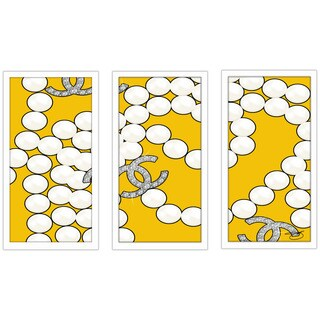 "BY Jodi ""Coco'S Pearls In Yellow"" Framed Plexiglass Wall Art Set of 3"