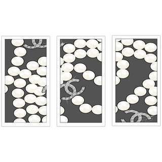 "BY Jodi ""Coco'S Pearls In Grey"" Framed Plexiglass Wall Art Set of 3"