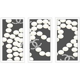 "BY Jodi ""Coco'S Pearls In Grey"" Framed Plexiglass Wall Art Set of 3"
