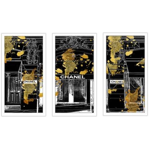 "BY Jodi "" Store Front"" Framed Plexiglass Wall Art Set of 3"