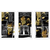 """BY Jodi """"Chanel Store Front"""" Framed Plexiglass Wall Art Set of 3"""