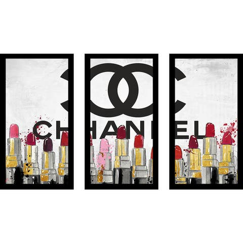 "BY Jodi "" Lipsticks"" Framed Plexiglass Wall Art Set of 3 - Red"