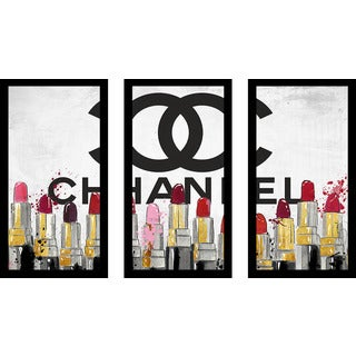 "BY Jodi ""Chanel Lipsticks"" Framed Plexiglass Wall Art Set of 3"
