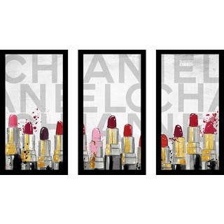 "BY Jodi ""Chanel Lipstick"" Framed Plexiglass Wall Art Set of 3"