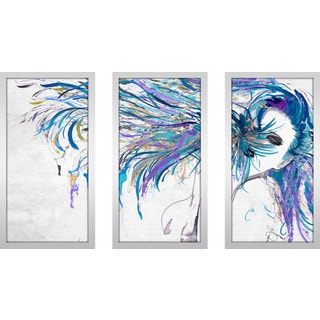 "BY Jodi ""Blue Whip"" Framed Plexiglass Wall Art Set of 3"