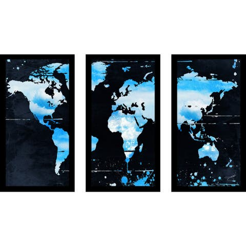 "BY Jodi ""Blue Clouds"" Framed Plexiglass Wall Art Set of 3"