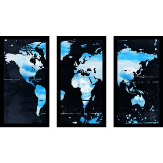 "BY Jodi ""Blue Clouds"" Framed Plexiglass Wall Art Set of 3"