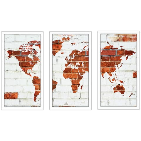 """BY Jodi """"Another Brick In The Wall"""" Framed Plexiglass Wall Art Set of 3"""