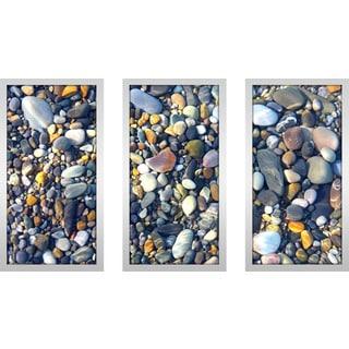 """Water Stones 5"" Framed Plexiglass Wall Art Set of 3"