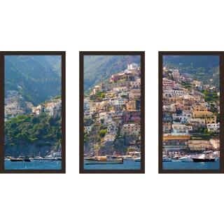"""Positano, Amalfi Coast"" Framed Plexiglass Wall Art Set of 3"