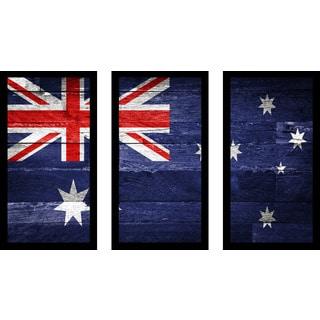 """""""Australia Flag"""" Framed Plexiglass Wall Art Set of 3"""