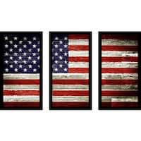 """""""Usa"""" Framed Plexiglass Wall Art Set of 3"""