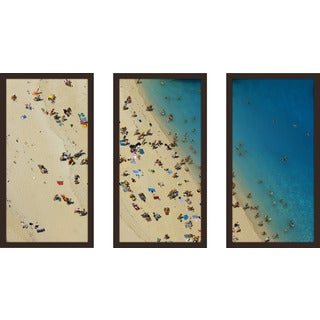 """Beach Please X"" Framed Plexiglass Wall Art Set of 3"