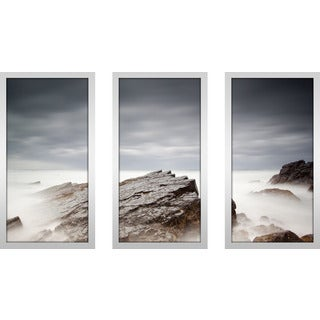 """On The Rocks Iv"" Framed Plexiglass Wall Art Set of 3"