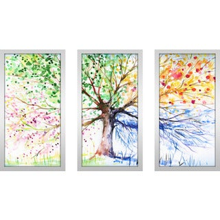 """Rainbow Tree"" Framed Plexiglass Wall Art Set of 3"