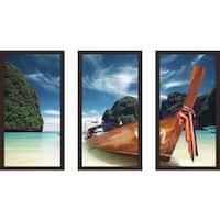 """Thailand"" Framed Plexiglass Wall Art Set of 3"