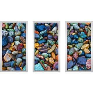 """Water Stones 2"" Framed Plexiglass Wall Art Set of 3"