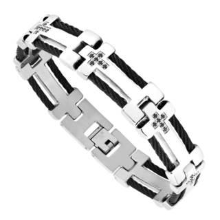 Men's Stainless Steel and Cubic Zirconia Cross Bracelet