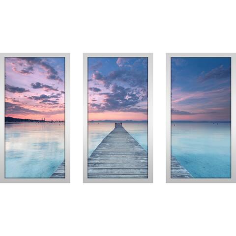 """Ocean Song"" Framed Plexiglass Wall Art Set of 3"