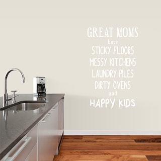 "Great Moms Have Sticky Floors Wall Decals - 30"" wide x 48"" tall"