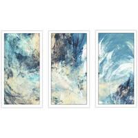 """Feeling Blue"" Framed Plexiglass Wall Art Set of 3"