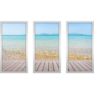 """Coastal Craze"" Framed Plexiglass Wall Art Set of 3"
