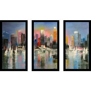 """City Of Light"" Framed Plexiglass Wall Art Set of 3"