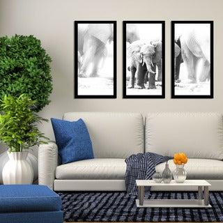 """Baby Elephant"" Framed Plexiglass Wall Art Set of 3"