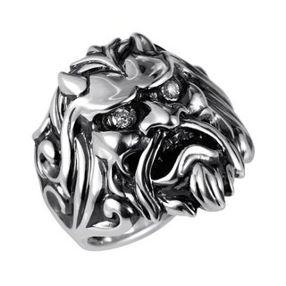 Stephen Webster Sterling Silver & Diamond Japanese Warrior Mask Ring