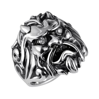 Stephen Webster Sterling Silver & Diamond Japanese Warrior Mask Ring
