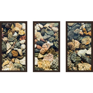 """Water Stones 18"" Framed Plexiglass Wall Art Set of 3"