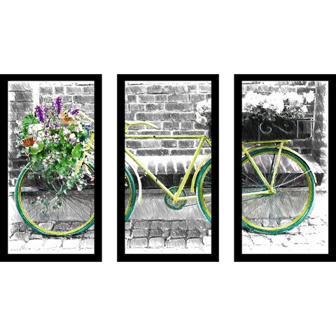 """Vintage Bike"" Framed Plexiglass Wall Art Set of 3"