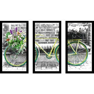 """Vintage Bike"" Framed Plexiglass Wall Art Set of 3"