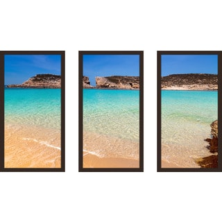 """The Blue Lagoon On Comino Island, Malta Gozo"" Framed Plexiglass Wall Art Set of 3"