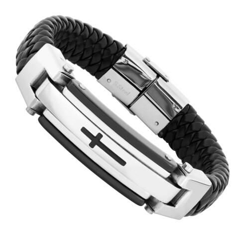 Men's Stainless Steel and Black Leather Cross Bracelet
