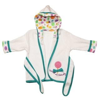 Funkoos Scribble Dots Baby Girls' Organic Cotton Hooded Bathrobe