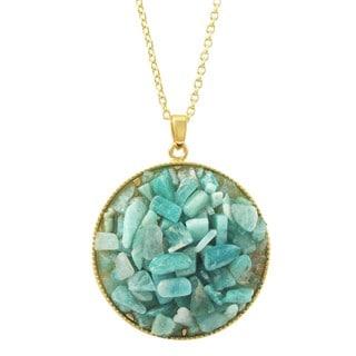 Luxiro Gold Finish Turquoise Semi-precious Gemstone Circle Pendant Necklace
