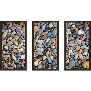 """Water Stones 17"" Framed Plexiglass Wall Art Set of 3"