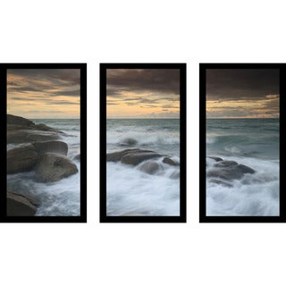 """White Rock Beach, Rayong, Thailand"" Framed Plexiglass Wall Art Set of 3"