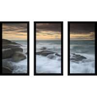 """""""White Rock Beach, Rayong, Thailand"""" Framed Plexiglass Wall Art Set of 3"""