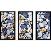 """Water Stones 16"" Framed Plexiglass Wall Art Set of 3"