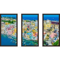 """Napoli"" Framed Plexiglass Wall Art Set of 3"